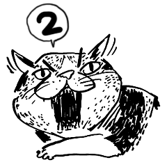 eh!cat! Black and white illustrations 2