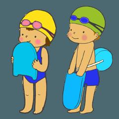 水泳キッズのスタンプ