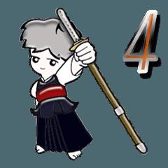 【大きめ文字】グレーヘアの男の子(剣道)