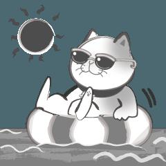 墨絵猫スタンプ 夏バージョン