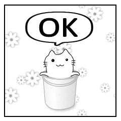 四コマ漫画スタンプ 「ネコ with セミ」