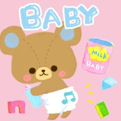 ベビー あかちゃんとママの水彩赤ちゃん熊