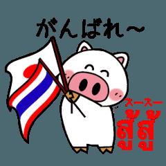 [LINEスタンプ] 使って覚える!タイ語スタンプ 白ブタ ver.