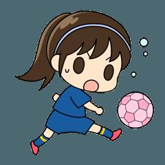 [LINEスタンプ] がんばる!サッカー少女 (1)