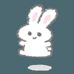 白いこうさぎスタンプ(文字なし)