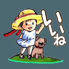 麦わら帽子の女の子と子犬の夏