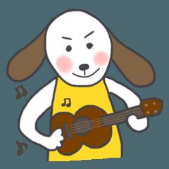 ウクレレを弾く犬