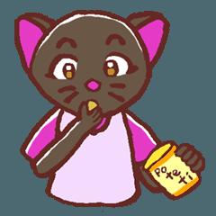 ちょっと食いしん坊な黒猫のスタンプ